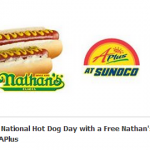 Sunoco APlus – On July 20th Get a FREE Nathan's Hot Dog w/ This Printable Coupon