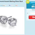FREE 2 Carat Diamond Accent Sterling Silver Stud (Just Pay $4.99 Shipping!)