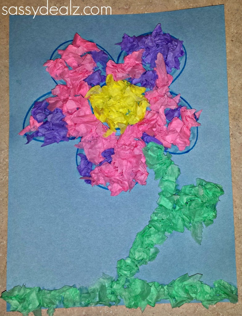 Easy Tissue Paper Flower Craft For Kids