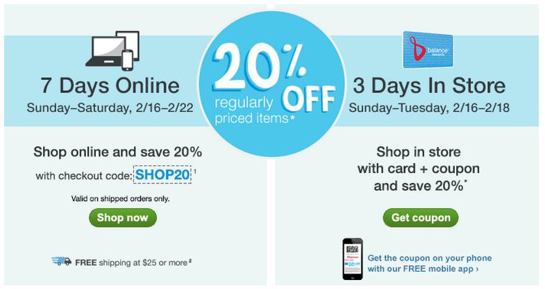 walgreens 20% coupon