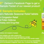 Free Sample of Zarbee's Natural Seasonal Relief