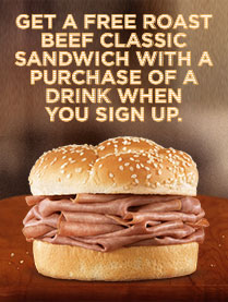 Arbys Coupon: Get a FREE Roast Beef Sandwich w/ Purchase of a Drink