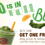 Jamba Juice Coupon: Buy 1 Juice or Smoothie, Get 1 Free (Exp 3/30)