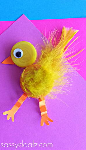 bottle-cap-chick-craft-for-kids