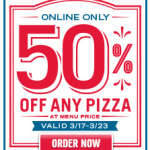 Dominos: Get 50% Off ANY Pizza at Menu Price! (Exp 3/23)