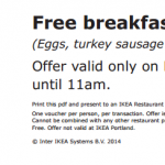 Free Breakfast + Blue Bag at IKEA w/ Coupon (March 8th Only)