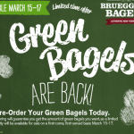 Get Green Bagels at Bruegger's Bagels for St. Patrick's Day!