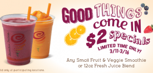 Jamba Juice Coupon: $2 Small Fruit & Veggie Smoothie