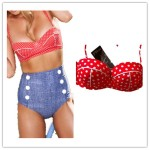 Retro High Waist Pin up Bikini (Red & Denim) Just $12.18 Shipped