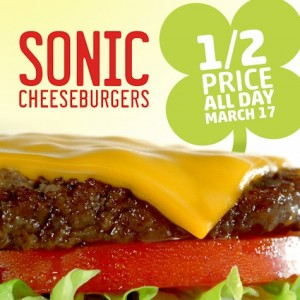 Sonic: Get Cheeseburgers for 1/2 Off on St. Patrick's Day!