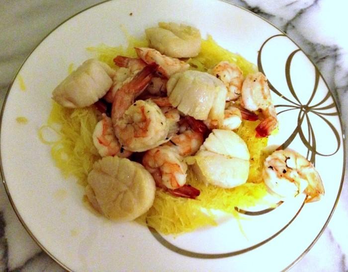 spaghetti-squash-seafood