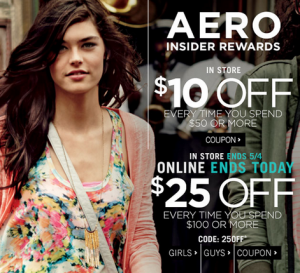 Aeropostale Coupons: Get $10 off $50 or $25 off a $100 Purchase!