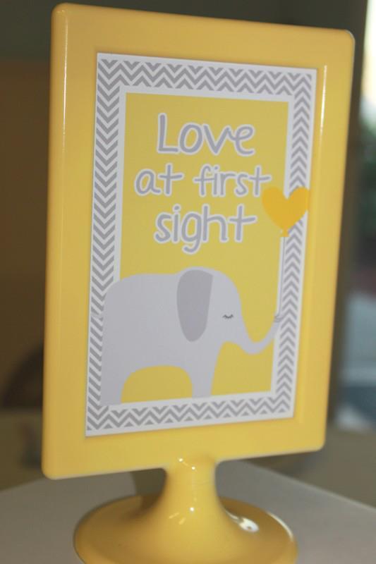 Yellow Gray Chevron Baby Shower Ideas Elephant Theme Crafty