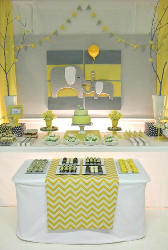 Yellow gray chevron baby shower ideas elephant theme for Baby shower decoration images