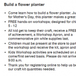Home Depot: Free Kids Workshop – Flower Planter (5/3)