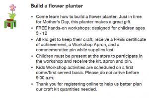Home Depot: Free Kids Workshop – Flower Planter (5/3)
