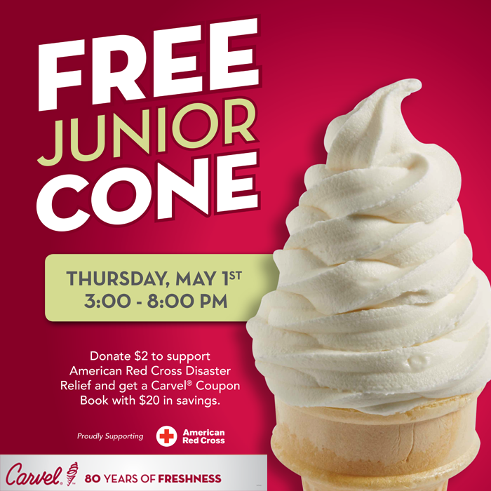 image about Carvel Coupon Printable referred to as Carvel: Free of charge Junior Ice Product Cone or Cup (May possibly 1st, 3-8PM