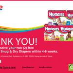 2 Free Huggies Snug and Dry Diapers!