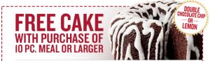 KFC Coupon: Get a FREE Cake w/ Purchase of 10 Piece Meal (Exp 4/21)