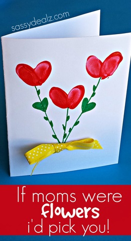 Mothers Day Fingerprint Flower Card