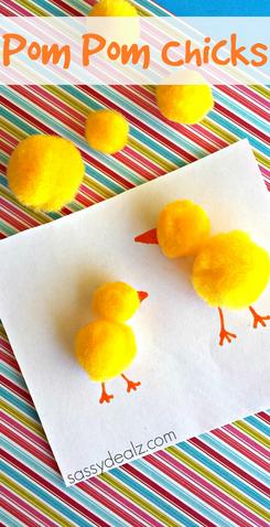 Pom Pom Easter Chicks Craft
