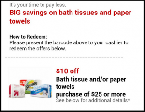 Target Coupon: Get $10 off a $25 Bath Tissue or Paper Towels Purchase!