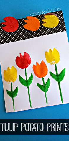 tulip potato print craft for kids