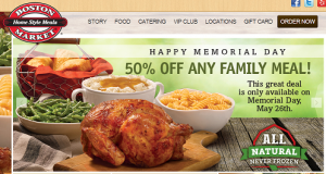 Boston Market: 50% Off Any Family Meal (5/26 Only)