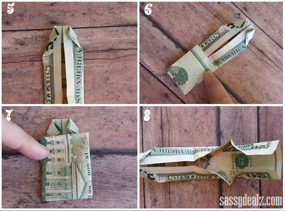 Money Origami Shirt and Tie Folding Instructions | 412x556