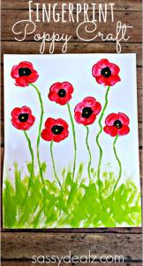 Fingerprint Poppy Flower Craft for Kids