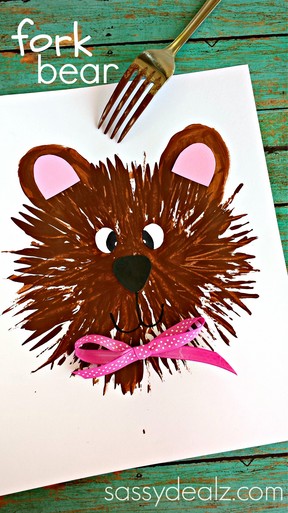 Kids Bear Craft Using A Fork Crafty Morning