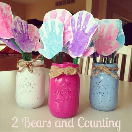 Handprint Flowers In Mason Jar Vases Cute Gift Idea Crafty Morning