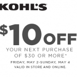 Kohls Coupon: $10 off a $30 Purchase (Exp 5/4)