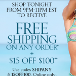 Victoria's Secret: Free Shipping w/ Promo Code 9-11PM (5/12)