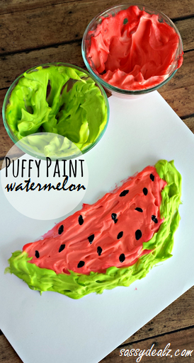 puffy paint watermelon craft for kids crafty morning