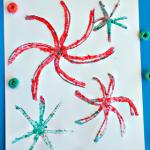 Crushed Fruit Loop Fireworks Craft for Kids