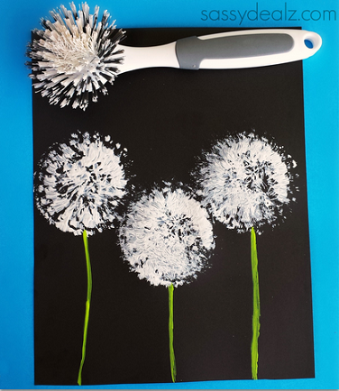 dish brush dandelions craft for kids crafty morning. Black Bedroom Furniture Sets. Home Design Ideas