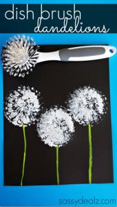 Dish Brush Dandelions Craft for Kids