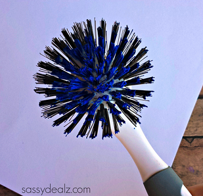 dish-brush-fireworks-craft-