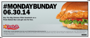 Hardees & Carl's Jr Coupon: Buy 1 Get 1 FREE Big Chicken Fillet Sandwich (6/30 Only!)