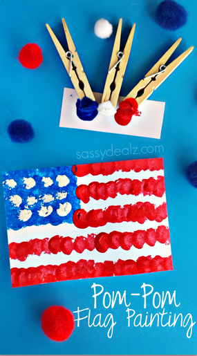 Pom Pom Flag Painting | Simple 4th of July Craft Ideas + 4th of July  Recipes | Faithful Farmwife